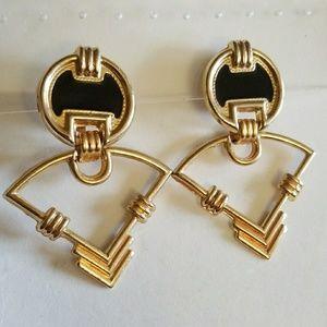"""ENAMEL 2-1/2"""" DANGLE clip-on earrings"""